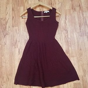 BB Dakota Maroon Soft Knit Skater Dress XS